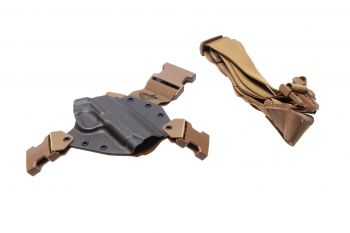 Gunfighters Inc Kenai Chest Holster - MAS Grey/Coyote/Coyote 1911Government RH