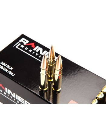 Rainier Munitions Factory New 300 BLK 147gr FMJ 10ct 50rd Box - 500 Rd