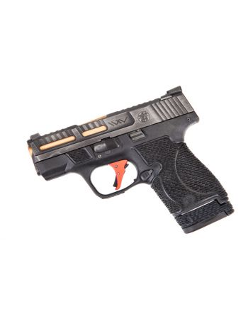 Wetwerks M&P Shield w/ Night Sights - Battleworn Grey w/ Red Trigger