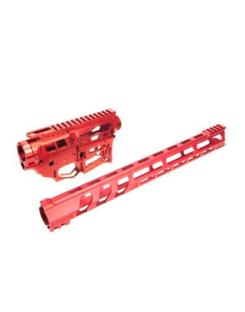 "Lead Star Arms LSA-15 - Skeletonized AR-15 Builder's Set with 17"" LSA-15 Free Float - Red"