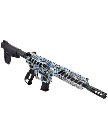"F-1 Firearms UDP 9mm Skeletonized Pistol - 8.3"" Naked/Blue Splash"