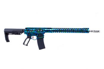 "F-1 Firearms Custom UDR .224 Valkyrie Rifle - 18"" Blue/Green Marbalizer"