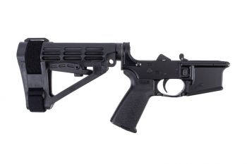 Aero Precision AR15 Complete Lower Receiver w/ MOE Grip & SBA4 Brace - Black