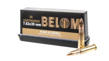 Belom 7.62x39 123gr FMJ Brass Case Ammunition - 480rd Case