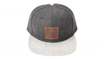 Rainier Arms Leather Patch Snapback Hat - Black/Gray