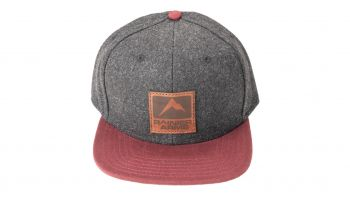 Rainier Arms Leather Patch Snapback Hat - Black/Wine