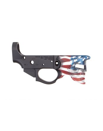 Rainier Arms Overthrow Stripped Lower Receiver - Blowndeadline Full Color Flag Edition