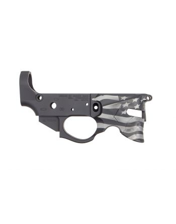 Rainier Arms Overthrow Stripped Lower Receiver -  Blowndeadline Black/Grey Flag Edition