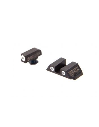 Night Fision Glock 43 Perfect Dot Night Sight Set - White/White Square Rear