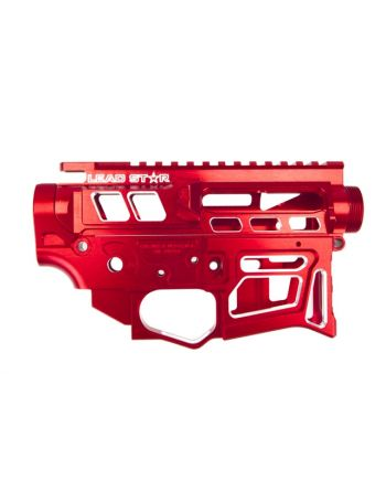 Lead Star Arms LSA-15 - Skeletonized AR-15 Receiver Set -Contrast Cut Red